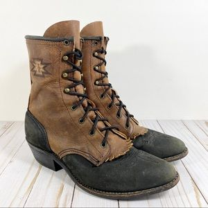Roper boots black and brown with kelty lace up 7.5